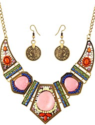 abordables -Femme Strass Bohème / énorme Ensemble de bijoux 1 Collier / Boucles d'oreille - Bohème / énorme Or / Argent Set de Bijoux Pour Soirée /