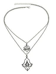 baratos -Mulheres Flor Turmalina de imitação colares em camadas  -  Simples Casual Formato Circular Prata 47.5cm Colar Para Festa / Noite Escola