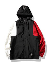 cheap -Men's Sports Street chic Jacket - Multi Color Color Block, Oversized Hooded