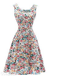 cheap -Women's Vintage Street chic Slim Swing Dress - Floral