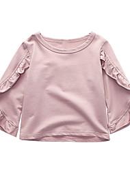 preiswerte -Mädchen Alltag Festtage Solide T-Shirt, Baumwolle Polyester Sommer Langarm Niedlich Rosa