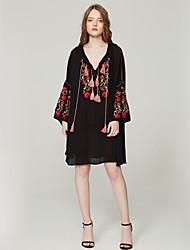 baratos -Mulheres Básico Boho balanço Vestido - Bordado, Floral Altura dos Joelhos