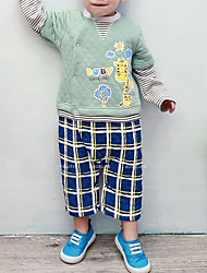 cheap -Baby Boys' Daily Color Block Plaid One-Pieces, Polyester Spring Active Long Sleeves Blue Light Green 90 80 70