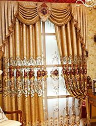 preiswerte -Vorhänge drapiert Wohnzimmer Geometrisch Baumwolle / Polyester Stickerei