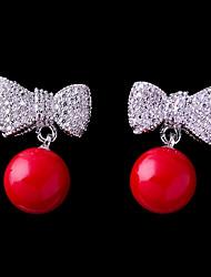 baratos -Mulheres Zircônia Cubica Brincos Curtos - Com Laço Adorável, Fashion Vermelho Para Casamento / Encontro