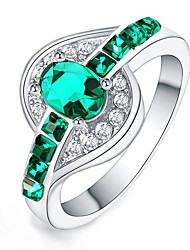 cheap -Women's Crystal / Zircon / Silver Plated Statement Ring - Irregular Fashion Green / Blue / Pink Ring For Daily
