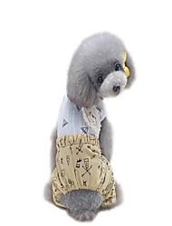 baratos -Cachorros Macacão Vestidos Camisetas Roupas para Cães Slogan Desenho Animado Vermelho Khaki Tecido Alcochoado Ocasiões Especiais Para
