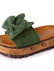 Недорогие -Жен. Полиуретан Лето Удобная обувь Тапочки и Шлепанцы Микропоры Круглый носок Бант Черный / Желтый / Зеленый