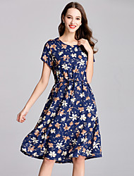 cheap -SHE IN SUN Women's Vintage Basic Swing Dress - Floral Print