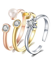 cheap -Women's Pearl S925 Sterling Silver / 18K Gold Plated Ring Set / Cuff Ring - 3pcs Circle European Rainbow Ring For Gift / Daily