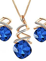 Недорогие -Жен. Австрийские кристаллы Комплект ювелирных изделий 1 ожерелье Серьги - Формальная Простой Геометрической формы Лиловый Красный Синий