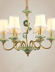 baratos -QINGMING® 6-luz Estilo de vela Lustres Luz Superior - Estilo Mini, 110-120V / 220-240V Lâmpada Não Incluída / 10-15㎡ / E12 / E14 / VDE