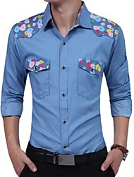 cheap -Men's Business Shirt-Floral,Print