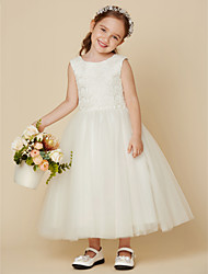 cheap -Princess Knee Length Flower Girl Dress - Lace Satin Tulle Sleeveless Jewel Neck with Lace by LAN TING BRIDE®