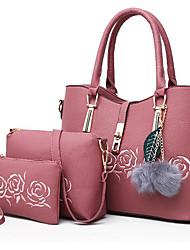 cheap -Women's Bags PU(Polyurethane) Bag Set 3 Pcs Purse Set Feathers / Fur Blue / Black / Blushing Pink
