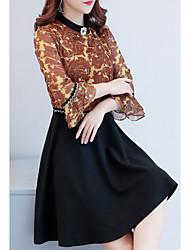 Недорогие -Жен. Большие размеры Оболочка Платье - Цветочный принт Вырез под горло Выше колена / Лето