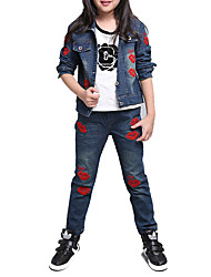 cheap -Girls' Daily Sports School Embroidered Jeans, Cotton Spring Fall Long Sleeves Cartoon Blue