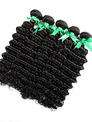 cheap -Indian Hair / Deep Wave Curly / Deep Wave Virgin Human Hair Natural Color Hair Weaves / Hair Care / Extension Human Hair Weaves New