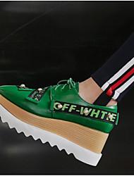 povoljno -Žene Cipele PU Proljeće Ljeto Udobne cipele Oksfordice Creepersice Zatvorena Toe za Kauzalni Crn Zelen