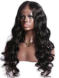 Недорогие -Натуральные волосы Необработанные натуральные волосы Полностью ленточные Парик Средняя часть Глубокое разделение Боковая часть стиль Бразильские волосы Волнистый Парик 130% Плотность волос