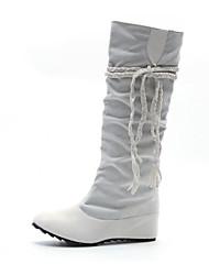 Недорогие -Жен. Обувь Нубук Зима Модная обувь Ботинки На плоской подошве Сапоги до колена Белый / Черный / Темно-коричневый