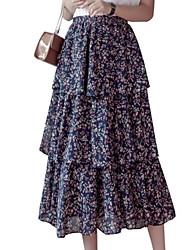 baratos -Mulheres Básico Evasê Saias - Floral Estampado