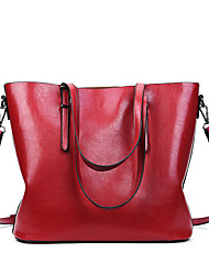 cheap -Women's Bags PU Leather Tote Zipper Red / Brown / Khaki