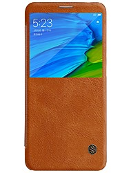 cheap -Case For Xiaomi Redmi Note 5 Pro with Windows Flip Auto Sleep / Wake Up Full Body Cases Solid Colored Hard PU Leather for Xiaomi Redmi