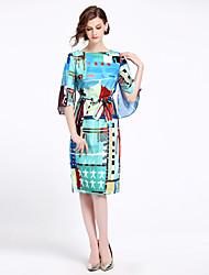 cheap -Women's Vintage Puff Sleeve Slim Shift Dress - Geometric Split / Lace up / Print