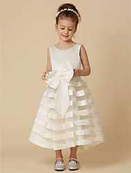 cheap -Princess Tea Length Flower Girl Dress - Satin / Tulle Sleeveless Scoop Neck with Bow(s) by LAN TING BRIDE®