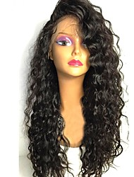 cheap -Remy Human Hair Lace Front Wig Wig Brazilian Hair Curly Layered Haircut 130% Density With Baby Hair / For Black Women Black Women's Short / Long / Mid Length Human Hair Lace Wig