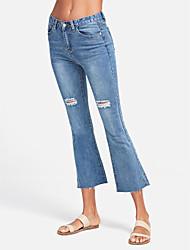 billige -Dame Basale Bomuld Jeans Bukser Ensfarvet