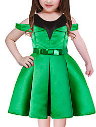 cheap -Girl's Going out Holiday Patchwork Dress, Polyester Short Sleeves Cute Princess Blue Green Red