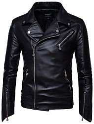 cheap -Men's Plus Size Cotton Leather Jacket - Solid Colored Shirt Collar