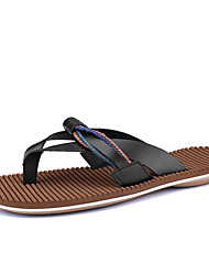 cheap -Men's Shoes PU Summer Comfort Slippers & Flip-Flops for Casual White Black Brown