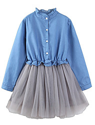 cheap -Girl's Daily Holiday Solid Colored Dress, Cotton Polyester Spring Fall Long Sleeves Cute Active Blue Light Blue