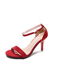 preiswerte -Damen Schuhe Kaschmir Sommer Komfort Sandalen Walking Stöckelabsatz Offene Spitze für Grau / Rot / Rosa