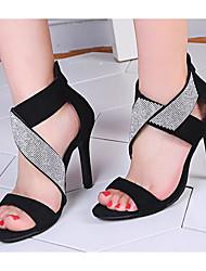 preiswerte -Damen Schuhe PU Frühling Sommer Pumps Komfort Sandalen Stöckelabsatz für Normal Schwarz Grau Rot