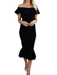 Недорогие -Жен. Классический Тонкие Русалка Платье - Однотонный Вырез лодочкой До колена