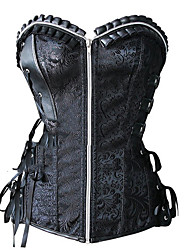cheap -Cosplay Steampunk Costume Women's Overbust Corset Black Vintage Cosplay Polyster Sleeveless