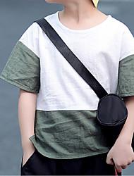abordables -Garçon Quotidien Couleur Pleine Tee-shirts, Lin Printemps Eté Manches Courtes Actif Vert Noir Orange