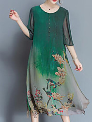 cheap -Women's Plus Size Chinoiserie Loose Chiffon Dress - Botanical Print
