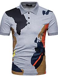 baratos -Homens Polo Negócio Moda de Rua Patchwork, Estampa Colorida camuflagem