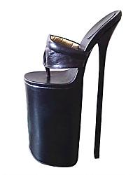 baratos -Mulheres Sapatos Couro Ecológico Verão Plataforma Básica Saltos Salto Agulha Dedo Aberto Branco / Preto / Rosa claro / Festas & Noite