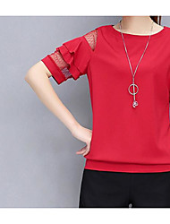 cheap -Women's Puff Sleeve Cotton Blouse - Solid Colored Tassel / Ruffle