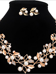 cheap -Women's Jewelry Set - Pearl, Imitation Pearl, Rhinestone Flower Personalized, European, Fashion Include Gold / Silver For Party / Birthday / Engagement / Imitation Diamond / Earrings / Necklace