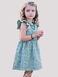 cheap -Girl's Daily Print Dress, Rayon Summer Sleeveless Vintage Light Blue