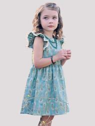 Недорогие -Дети (1-4 лет) Девочки Винтаж Повседневные С принтом Оборки Без рукавов Искусственный шёлк Платье Светло-синий 110