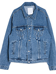 cheap -Men's Denim Jacket - Solid Colored, Oversized Shirt Collar