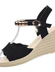 abordables -Femme Chaussures Polyuréthane Eté Confort Sandales Hauteur de semelle compensée Bout rond Strass Noir / Vert / Bourgogne